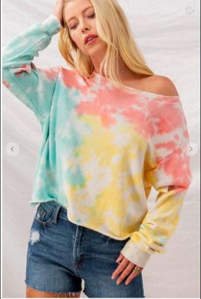 Haley Tie Dye Crop MINT/COR