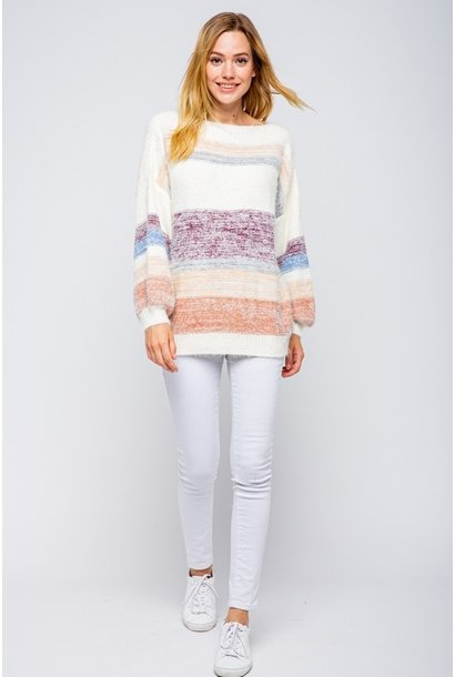 Fuzzy Stripe Sweater MAR