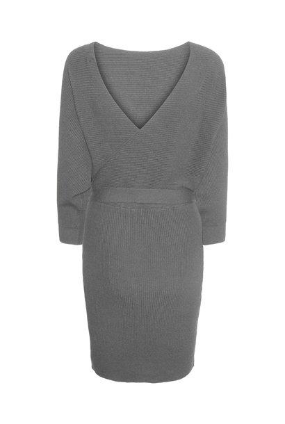 Rem V-neck Knit Dress GRY