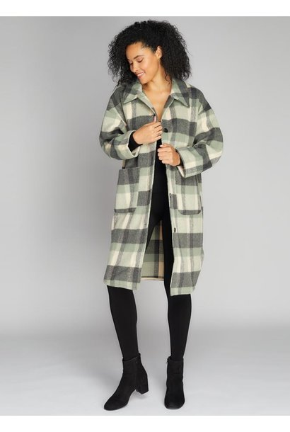 Plaid Long Button Down Jacket GRN O/S