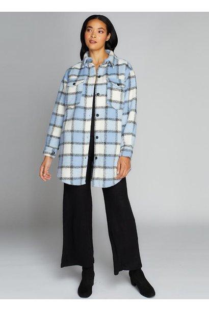 Plaid Button Front Jacket BLU