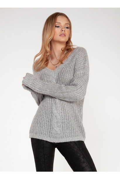 Cable Knit V-Neck Sweater GRY