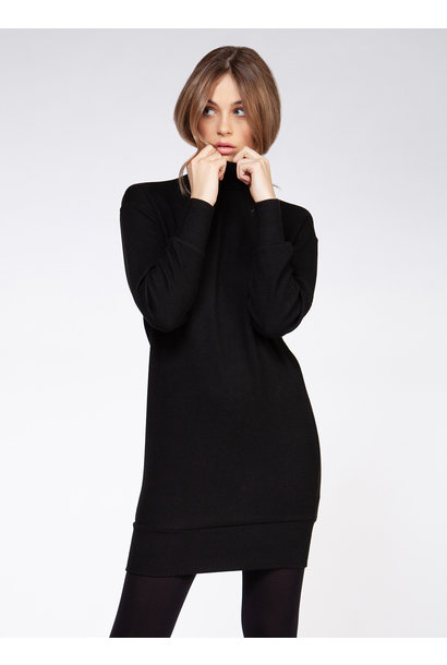 Mock Neck Sweater Dress BLK