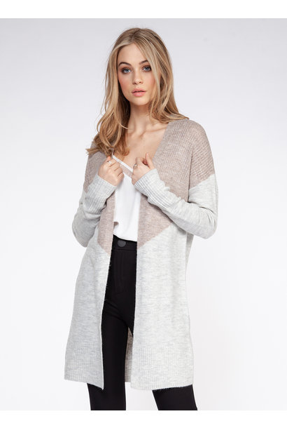 Colorblock Open Cardi GRY/BLSH
