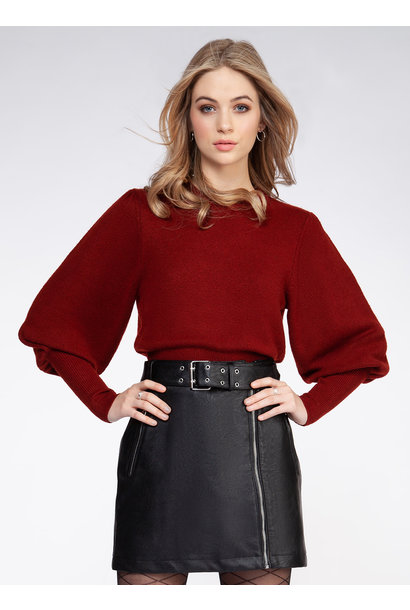 Balloon Sleeve Sweater RED