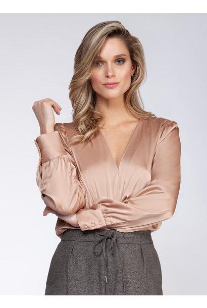 L/S Wrap Blouse Bodysuit ROSE