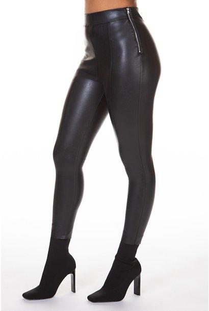Front Seam Leather Legging BLK
