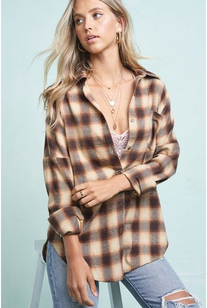 Opie Drop Shoulder Plaid BRN