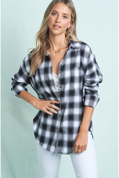 Opie Drop Shoulder Plaid BLK