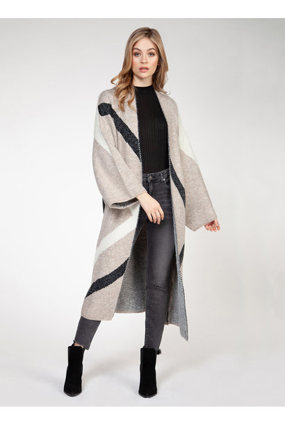 Chevron Duster Cardi Blush/BLK