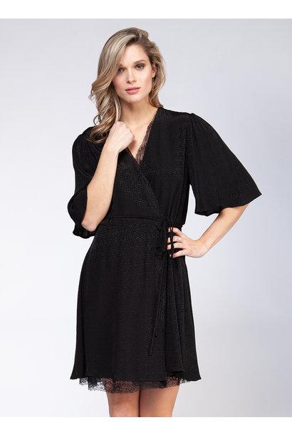 Lace Insert Wrap Dress BLK