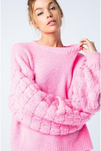 Chelsi Popcorn Sleeve Sweater PNK