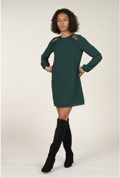 Long Sleeve Chiffon Dress GRN