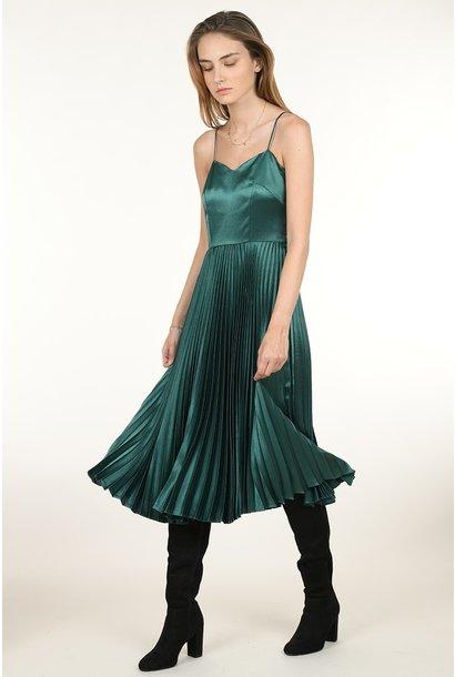 Pleat Midi Dress GRN