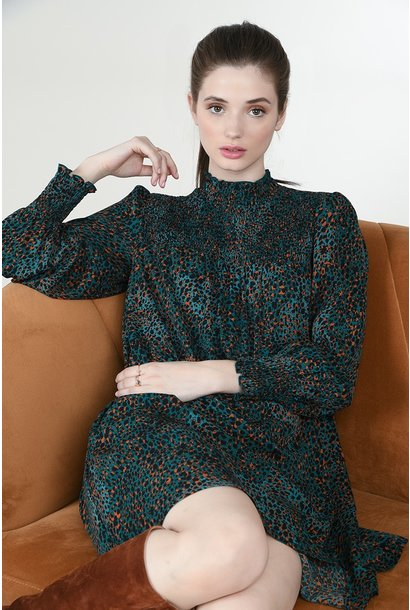 Mock Neck L/S Animal Print Dress GRN