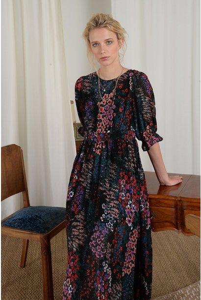 3/4 SLV Floral Dress BLK