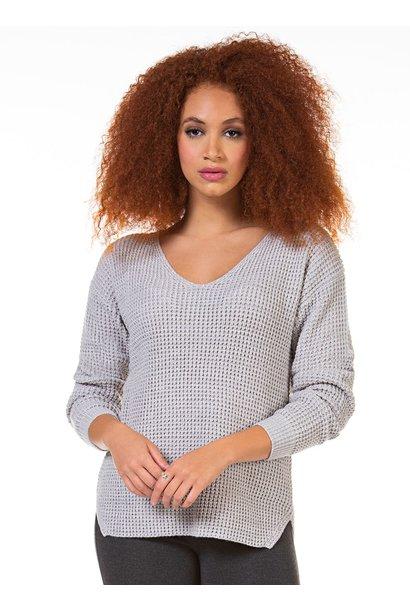 Vneck Bevelled Hem Sweater BONE