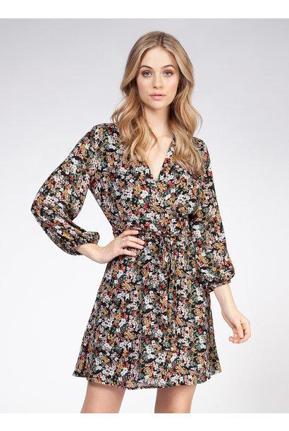 Floral L/S Wrap Dress GRN