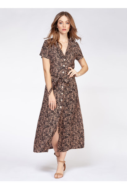 Button Front Maxi Dress NUDE LEO
