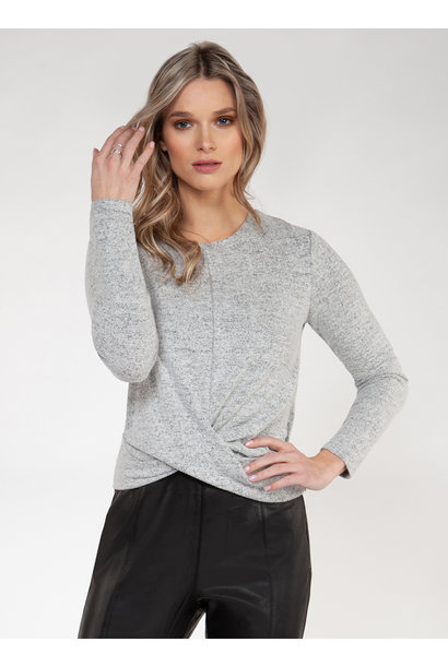 Brushed Twist Front L/S Top GRY