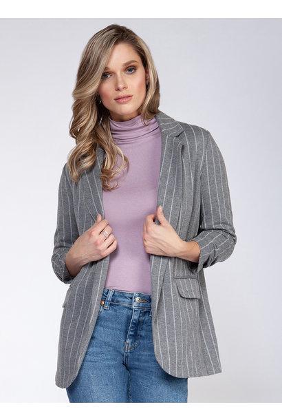 Pinstripe Ruch Sleeve Blazer GRY