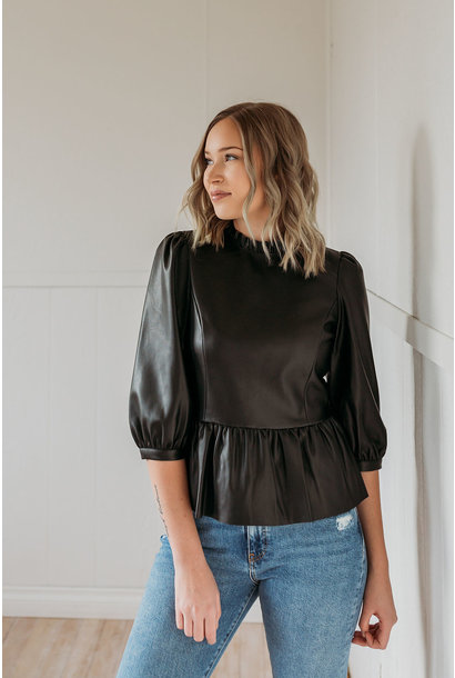 Butter Lee Peplum Leather Top BLK