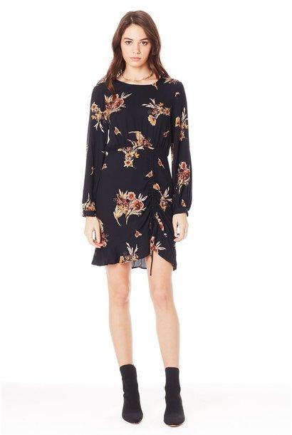 Brantley Floral Cinched Dress BLK