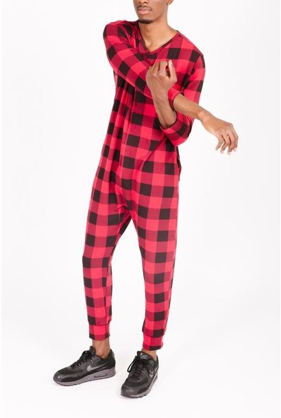 Present In Plaid Guy Romper RED