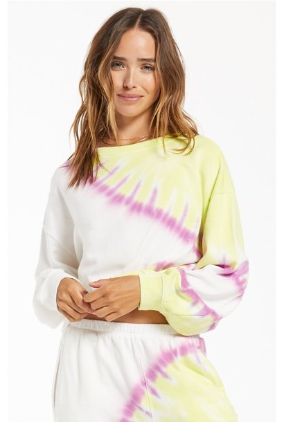 Z Supply Sunburst Tie Dye Sweatshirt WHT