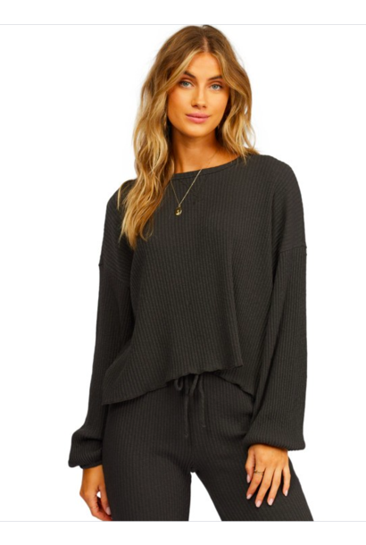 Come Through Ribbed L/S Top OBLK