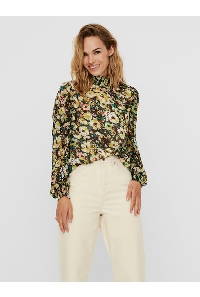Nilla Floral L/S High neck Top GRN