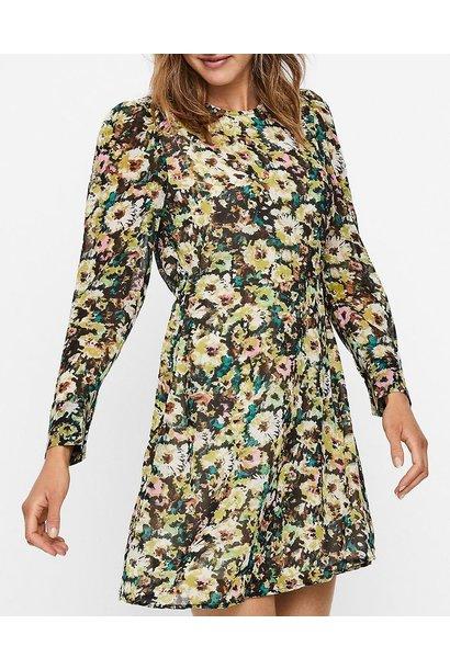 Nilla Long Sleeve Floral Dress GRN