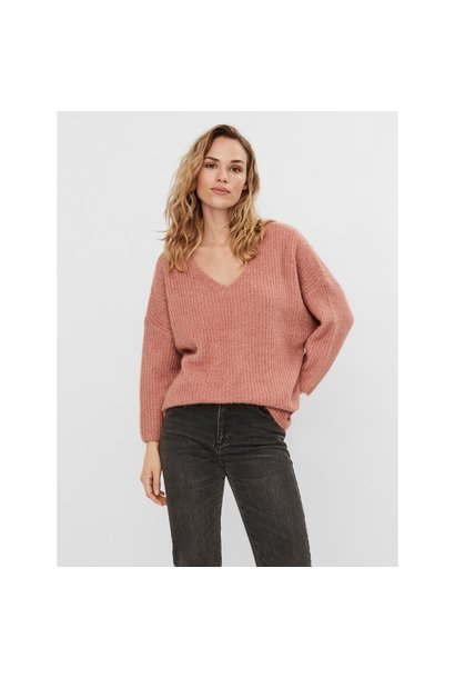 Julie 7/8 Sleeve V Neck Sweater ROSE