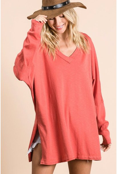 Weekday Vneck Tunic RED