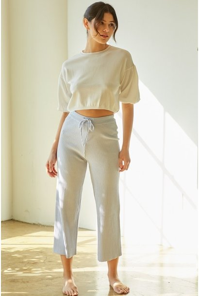 Beth Balloon Sleeve Crop WHT