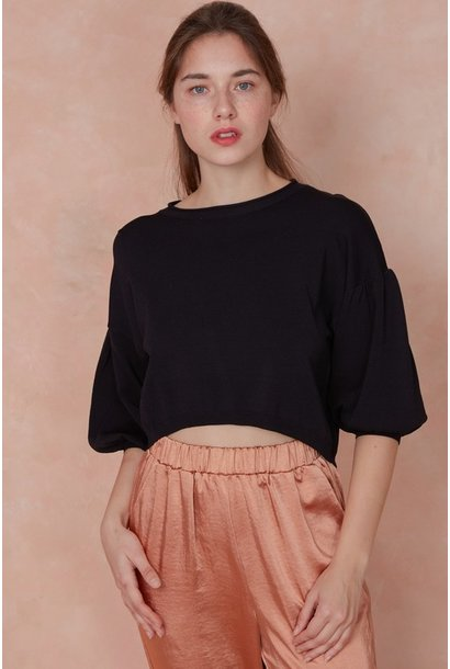 Beth Balloon Sleeve Crop BLK