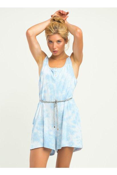 Sleeveless Knit Tie Dye Romper BLU