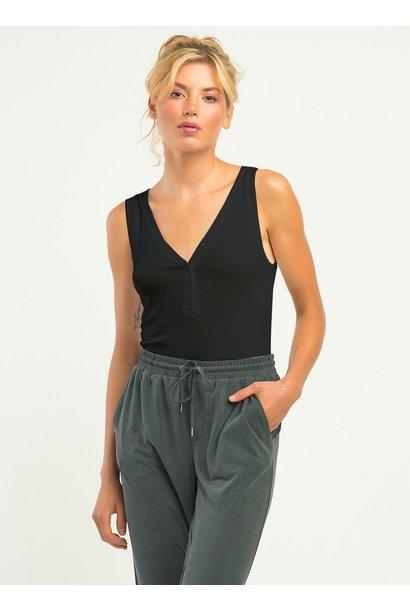 S/L Henley Ribbed Bodysuit BLK