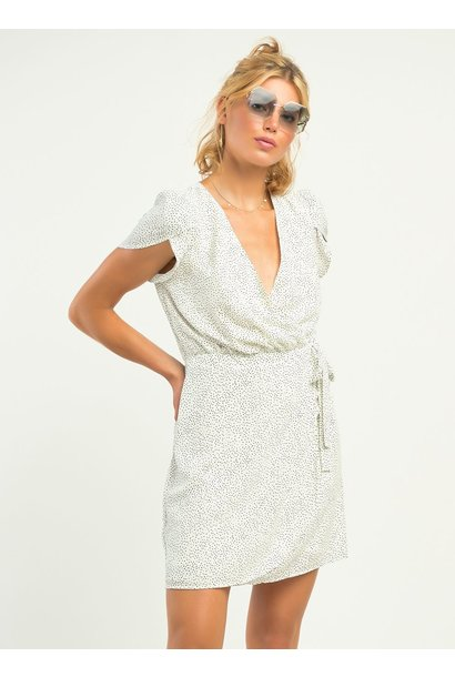 Flutter Sleeve Dot Wrap Dress WHT