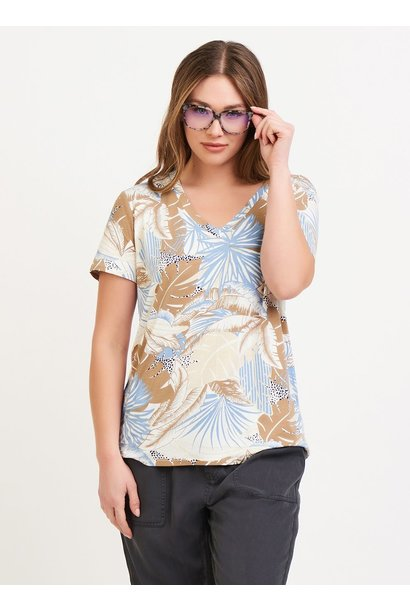 Palm Print Vneck Tee TAN