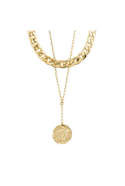 Compass 2 in 1 Necklace GLD