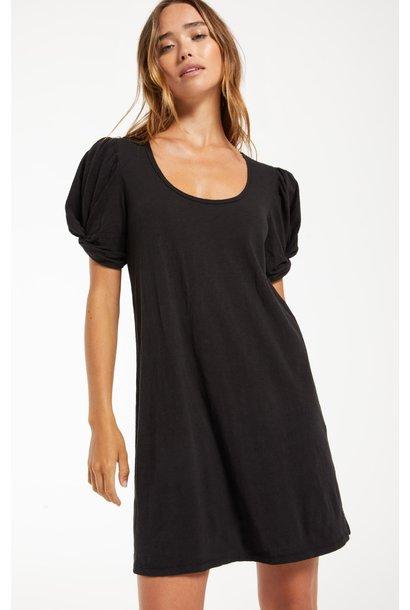 Indi Slub Puff Sleeve Dress BLK