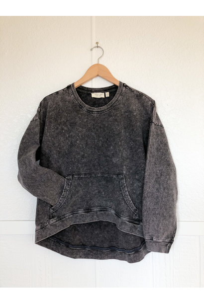 Acid Wash Pullover BLK
