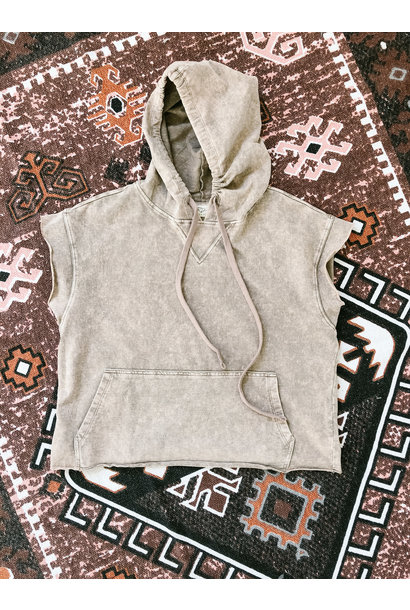 S/S Acid Wash Hoody TAN