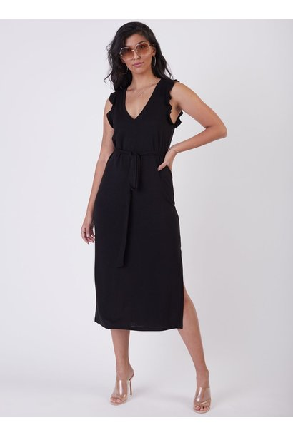Ruffle Trim Slub Maxi Dress BLK