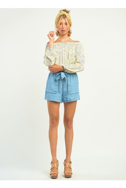 Ditsy Floral Long Sleeve O/S Top YEL