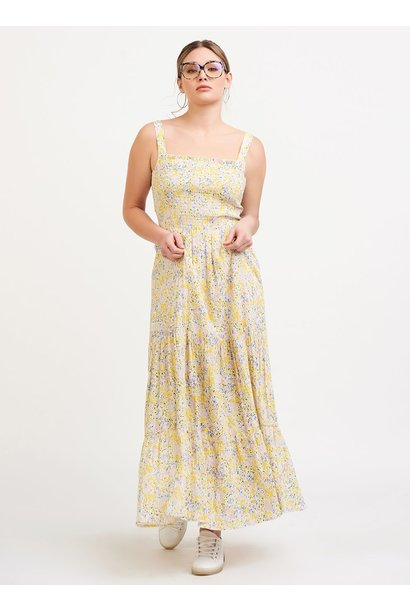 Floral Smock Tiered Maxi Dress YEL