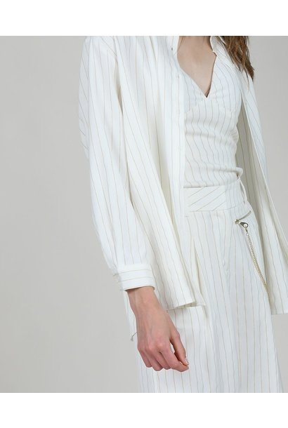 Pinstripe Button Front Blouse WHT