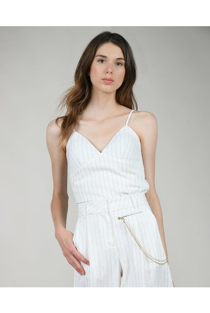 Pinstripe Shirred Back Cami WHT
