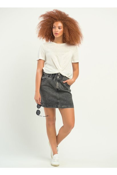 Paperbag Waist Denim Skirt BLK